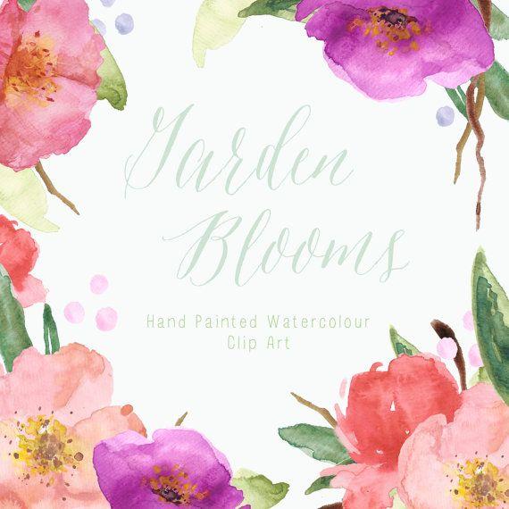 Garden Blooms Watercolour Clip Art by CreateTheCut on Etsy