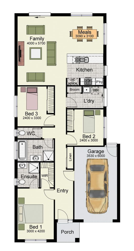 Single story home floor plan with 3 bedrooms, and 150