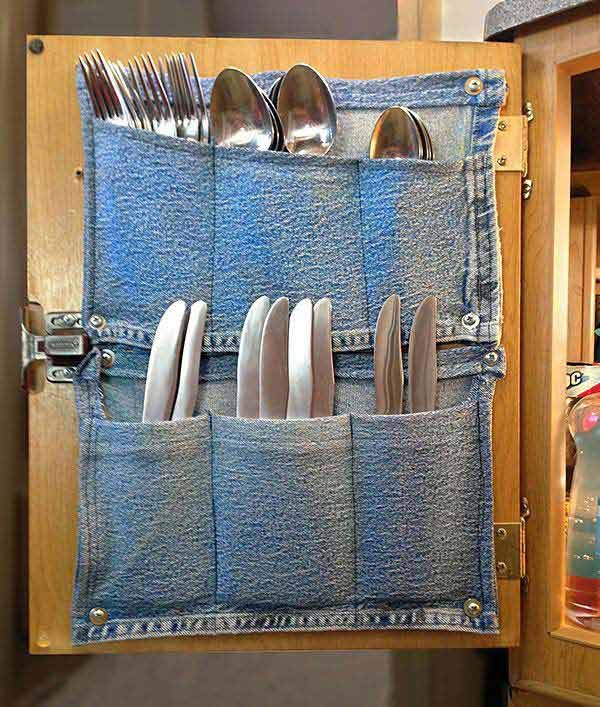 Flatware holder with denim pockets:Top 27 Clever and Cute DIY Cutlery Storage Solutions