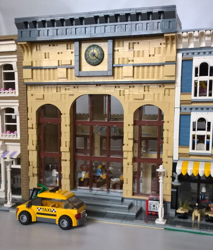 MoreCity Bricks built an impressive modular urban train station. The front and back facades make good use of tan bricks and tiles to give the station grea