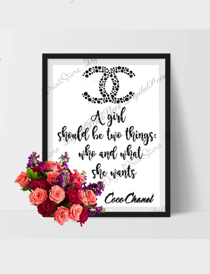 """Coco Chanel Printable Quote """"A girl should be two things 01"""" Chanel Quote by DigitalPrintStore on #Etsy #gift #cocochanel #chanel"""