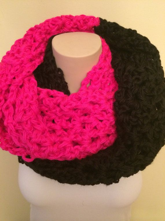 iScarf  Long Crocheted Infinity Scarf  Black/Neon Pink by iHooked