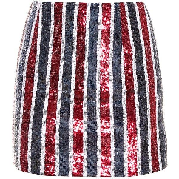 Giamba Striped Skirt ($177) ❤ liked on Polyvore featuring skirts, bottoms, giamba, sparkle skirts, striped skirt, sequin stripe skirt and sequin skirt