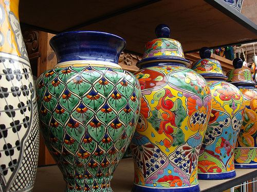 The colors of Guanajuato Mexico are not only seen in their buildings but they are also seen in their beautiful pottery and art work.