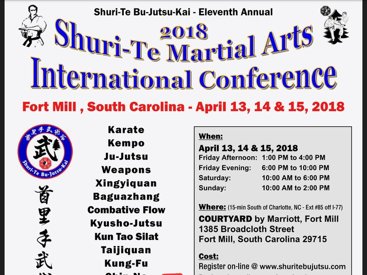 Come join me at the Shuri-Te Martial Arts International Conference April 13-15, 2018.  http://nebula.wsimg.com/3e54a2d34532d62c323512643ac57a7e?AccessKeyId=5D5015058135A6F23559&disposition=0&alloworigin=1&utm_content=buffer82874&utm_medium=social&utm_source=pinterest.com&utm_campaign=buffer