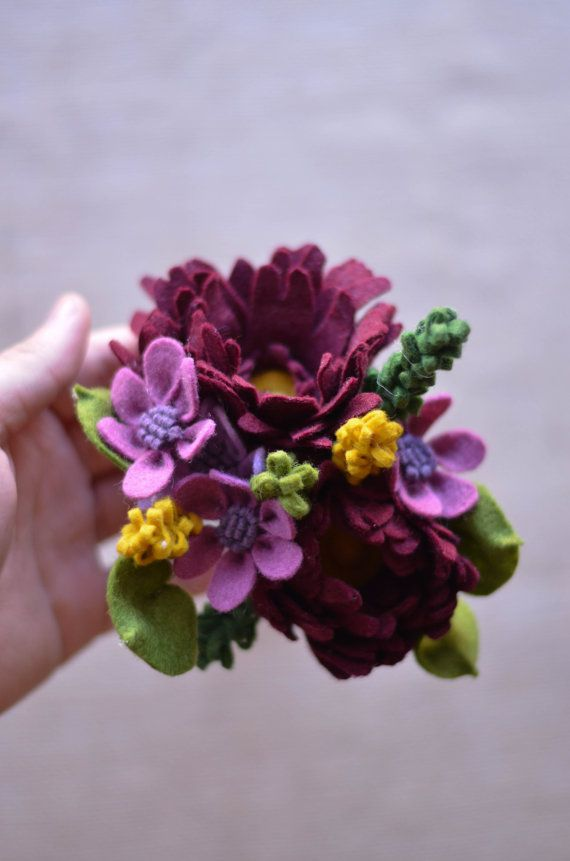 Peony Wildflower & Ivy Felt Flower Bouquet / by LeaphBoutique