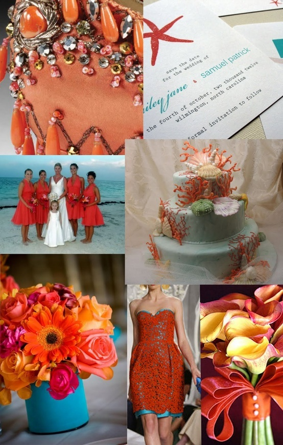 Just in case you do have to do red with the other colors... Turquoise & Coral Weddings | Capers Catering