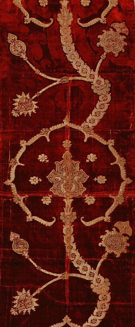 Length of brocaded velvet, 16th century  Spanish or Italian  Silk velvet brocaded with metal-wrapped thread