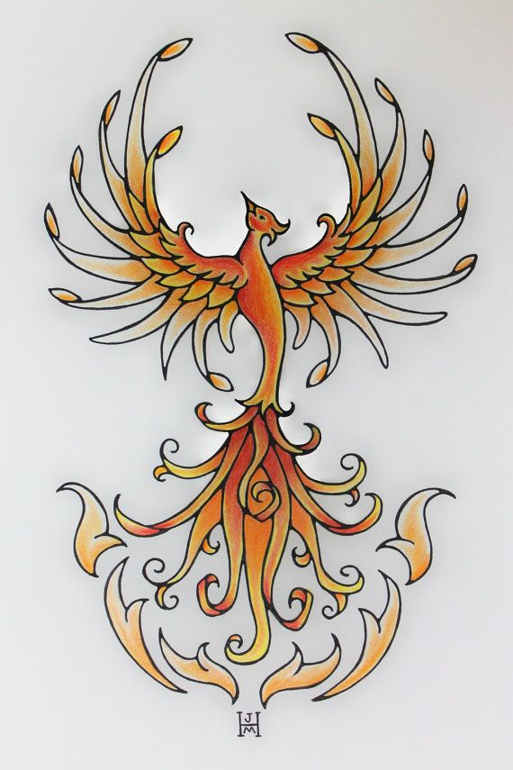 Orange Fire CRPS Warrior Phoenix Rising by jennifermckayhiggins