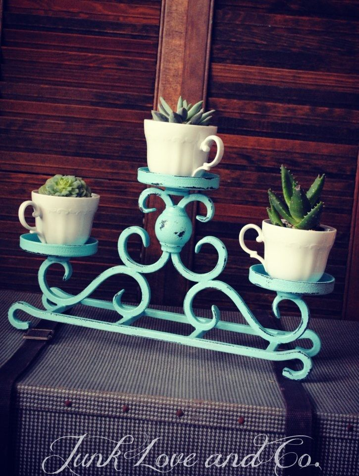 cute idea with the succulents in cups - Shabby Turquoise Metal Distressed Display. $28.95, via Etsy.