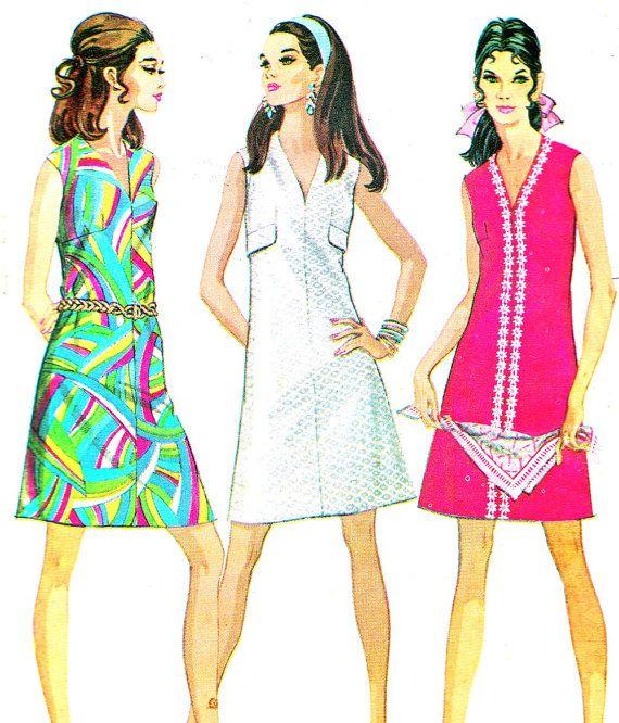 1960s Dress Pattern McCalls 9699 Mod V Neck by paneenjerez on Etsy, $12.00