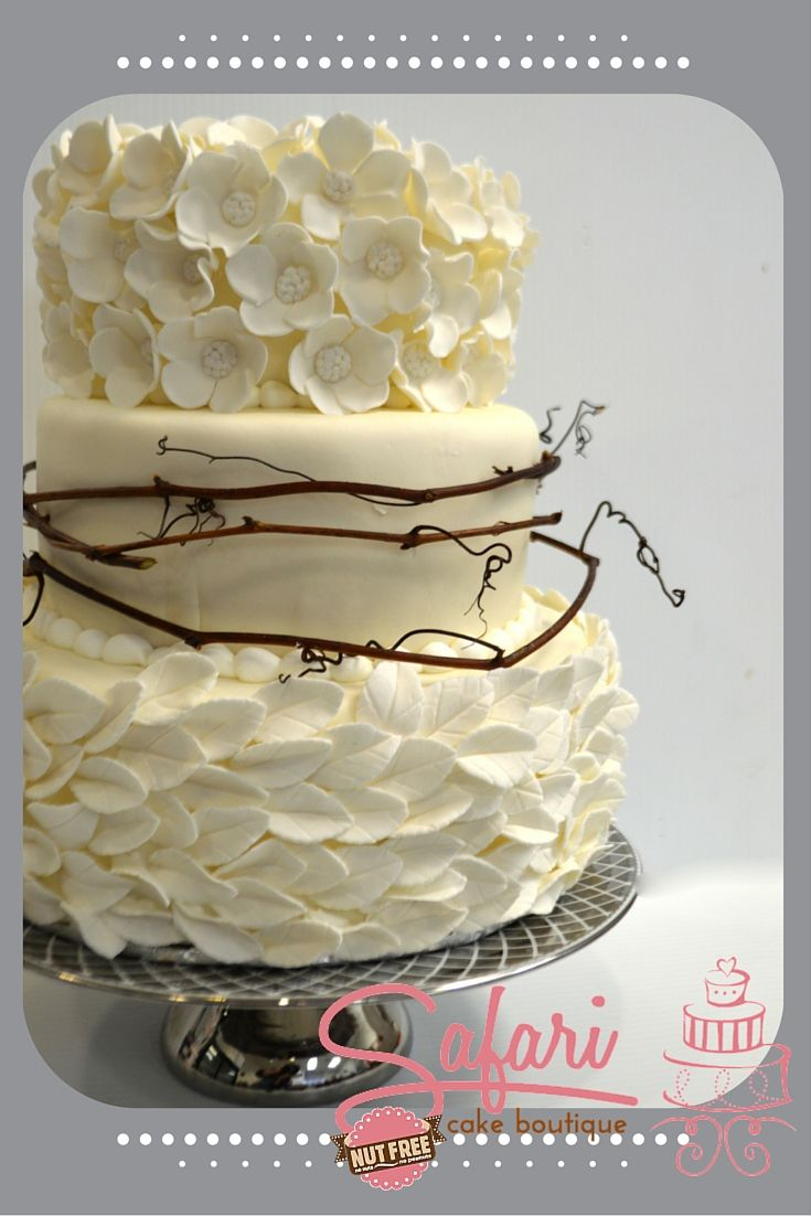 wedding bakeries in sacramento ca%0A  Tier Winter Wedding Cake adorned with handmade gum paste flowers and  leaves with grapevines