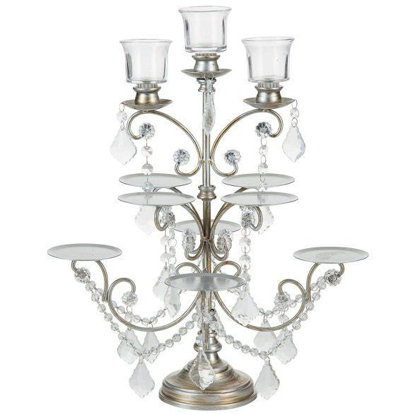 cupcake candelabra stand with 3 votive candles - ~ for SALE ~ #wedding #candelabra #centrepiece home #decor or #gift idea ~  www.candelabracenterpieces.info