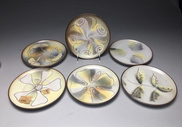 Fine Lot Of 6 Esther Sills Luncheon Art Pottery Plates    eBay