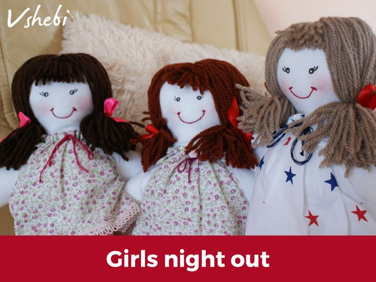 Girls night out with Vshebi dolls. Perfect handmade gift for every little girl. Customize your own cloth, Vshebi doll by choosing dress pattern and hair collor.