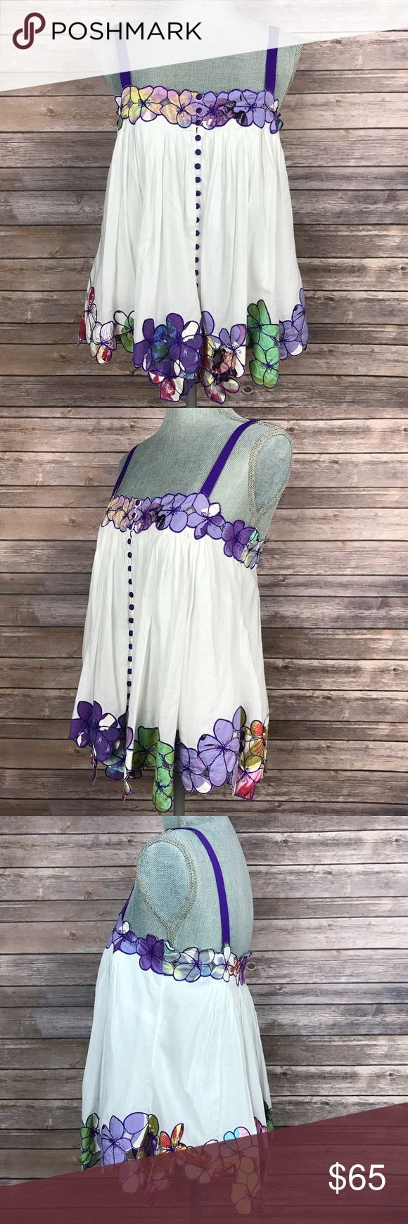 {Catherine Malandrino} Floral Embroidered Blouse Sleeveless. Button-down front. Lined. 100% cotton. RN# 98967. Condition: Excellent. Lightly worn. Catherine Malandrino Tops Blouses