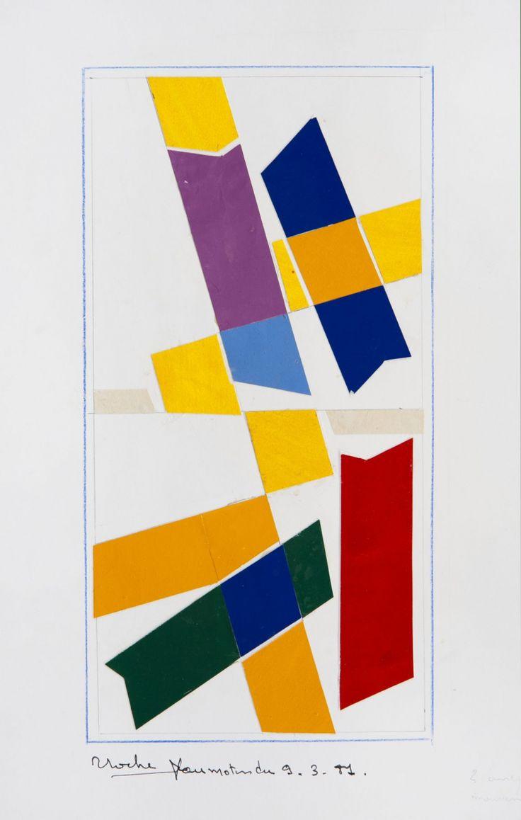 René Roche (1932-1992)  Composition, circa 1981  Dix collages sur papier  50 x 65 cm.