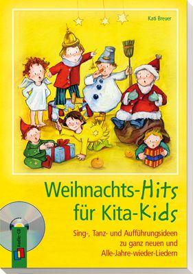 """Weihnachts-Hits für Kita-Kids - Sing-, Tanz- und Aufführungsideen zu ganz neuen und Alle-Jahre-wieder-Liedern ++ 10 neu interpretierte, beliebte Dauerbrenner wie """"Morgen kommt der Weihnachtsmann"""" oder """"Kling Glöckchen"""" und 10 ganz neue Lieder vom Schneeflöckchentanz bis zum Ruprecht-Rap + Mit Noten, Gitarrengriffen und natürlich allen Liedern auf der im Preis enthaltenen CD. + Weihnachtliche Ohrwurmgarantie inklusive!   #Weihnachten #Advent #Kinder #Kita"""