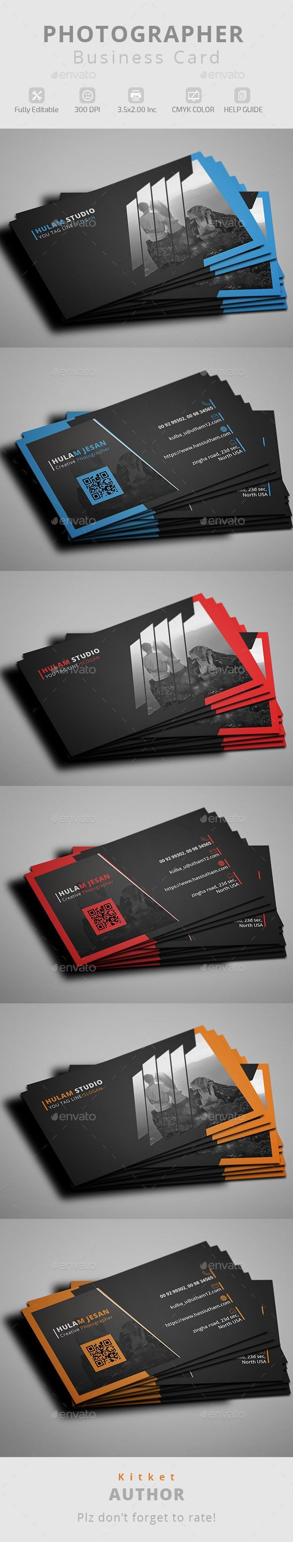 Photographer Business Card Template PSD #visitcard #design Download: http://graphicriver.net/item/photographer-business-card/13311116?ref=ksioks