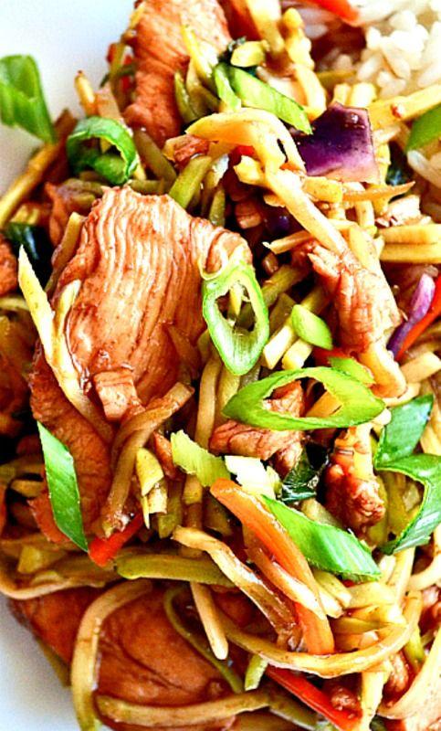 Broccoli slaw stir fry with garlic-ginger teriyaki sauce