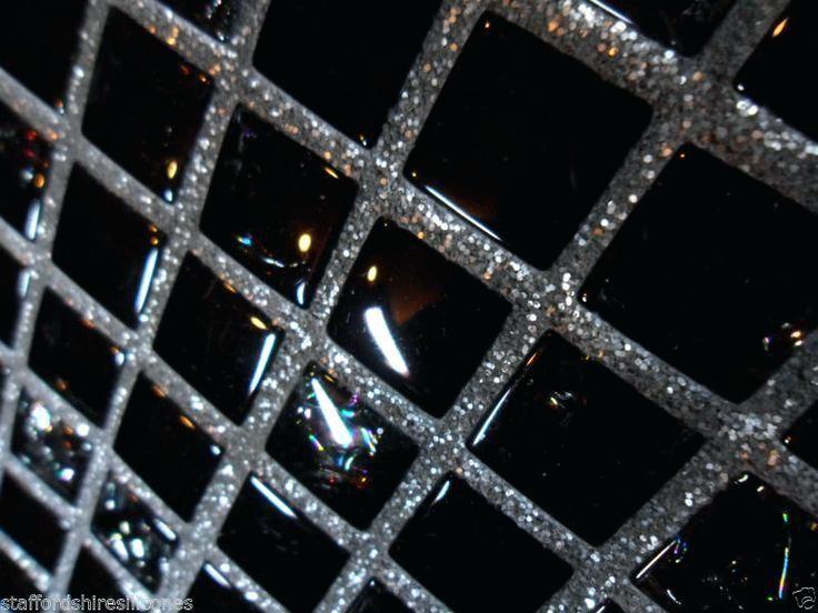 black sparkle floor tiles grout glitter wall floor glass mosaic cheap tiles silver or gold additive black sparkle floor tiles uk #GlitterWalls #GlitterGrout