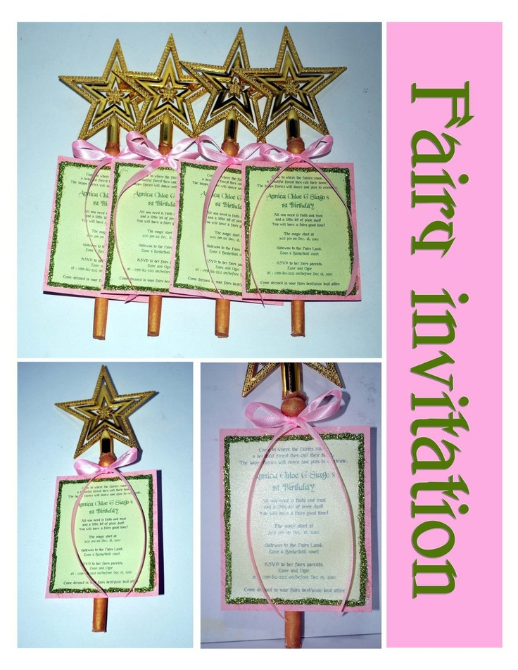 Fairy party invitations with magic wand