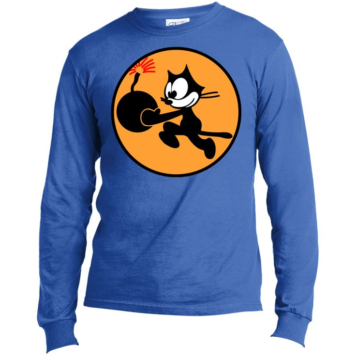 WWII US Navy Insignia Felix the Cat with Special Delivery Long Sleeve Made in the US T-Shirt