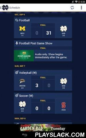 WatchND  Android App - playslack.com , WatchND is the official online video platform for Notre Dame Athletics, and the WatchND App is the best way to experience all of the great WatchND content on your Android Smartphone. -Live video broadcasts of most Irish Athletic home events that are unavailable on TV-Live audio of all Men's and Women's Basketball, Hockey and Baseball games-Live broadcasts of press conferences, coach's shows and other special events-Game highlights-Full access to the…