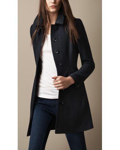 Burberry Brit   Blue Wool Twill Dress Coat   Lyst