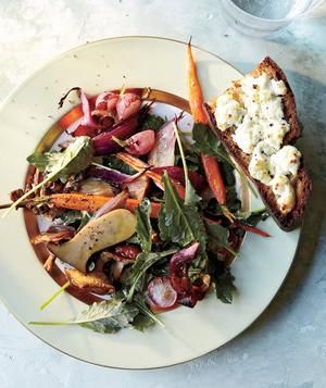 Vegetarian: Roasted Spring Vegetables and Greens With Goat Cheese ...