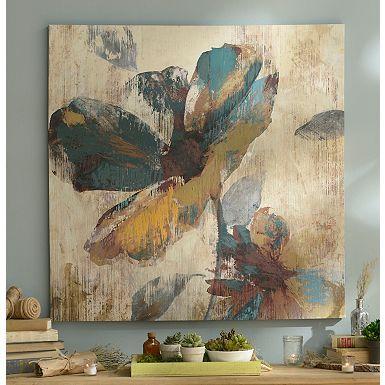 Abstract Aqua & Brown Floral Canvas Art Print