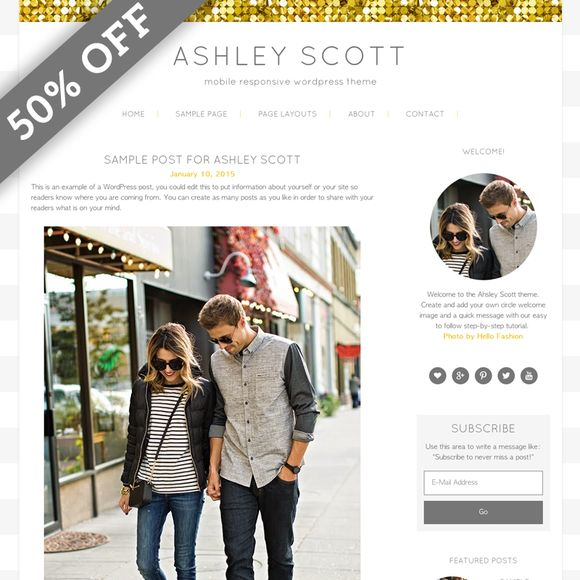 Ashley Scott Gold WordPress Theme  @creativework247