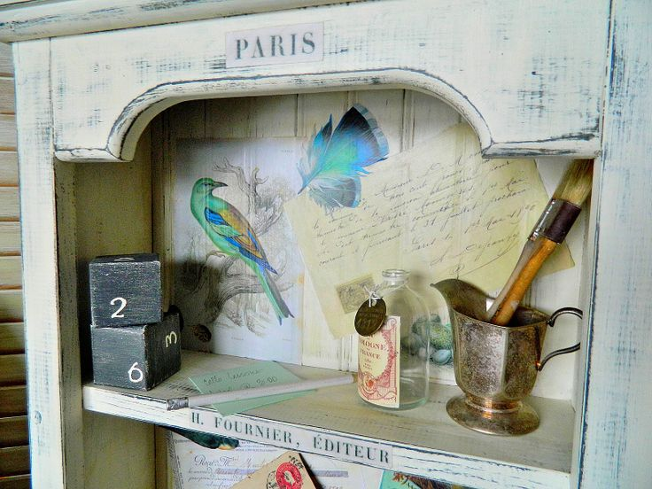 Love this idea. Taking an old cabinet and adding graphics and words. What a great look!!: Laundry Bags, Diy Furniture, Distressed Cabinets, Clipart, Pariscabinet Sweetgirlexpress, Cool Ideas, Old Cabinets, Paris Cabinets, Graphics Fairies