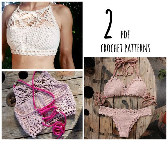 PDF-files for 2 Crochet PATTERNS Luna cropped Crochet Top and