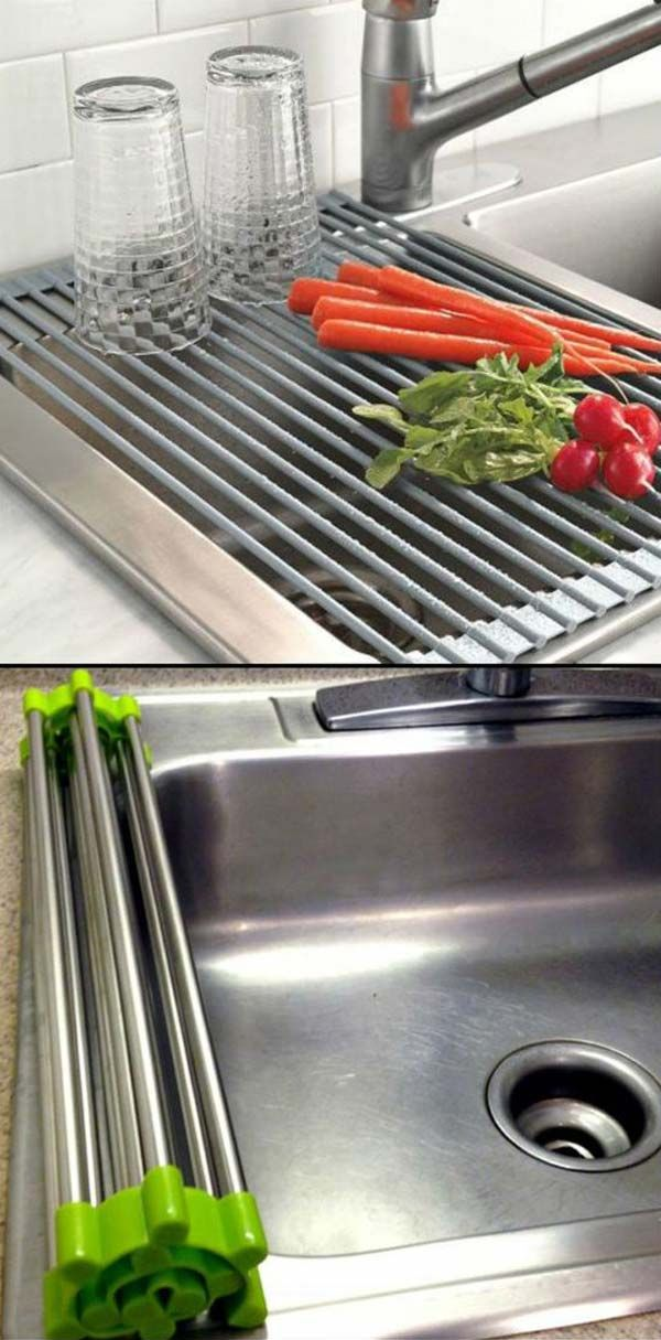 1. Roll-up drain rack cleverly uses available space on your sink.