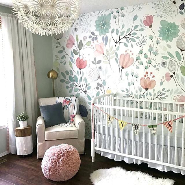 Fl Wallpaper Accent Wall In The Nursery So Whimsical And