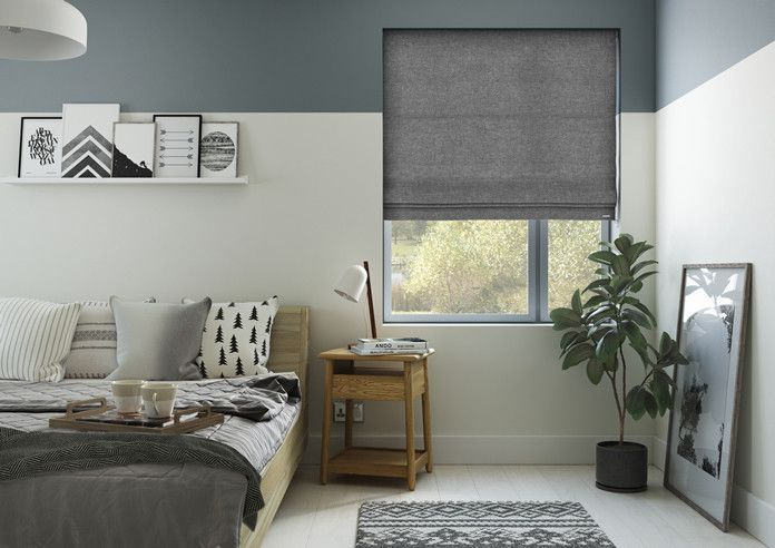 The Nannys bedroom 247 blinds Basketweave grey blind From £23.32