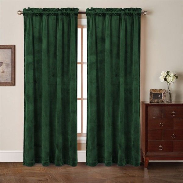 Amazon.com: Sales for Christmas Comforhome Solid soft velvet window... ($34) ❤ liked on Polyvore featuring home, home decor, window treatments, curtains, velvet panels, dark green curtains, pole pocket curtains, christmas curtains and forest green curtains