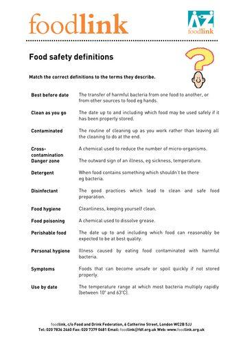 Food Safety Definitions Pdf Facs Pinterest Food