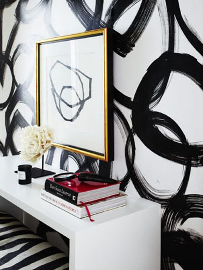 Cool entryway with black and white brushstroke