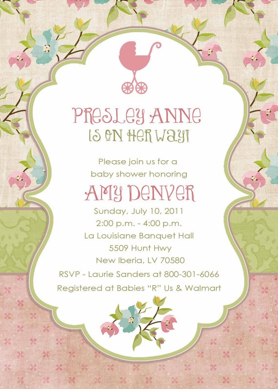 baby girl shower invitations shabby chic digital by katiedidesigns, $13.00