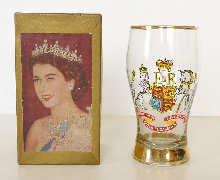 VINTAGE BOXED QUEEN ELIZABETH II CORONATION 1952 QUARTER PINT BEER LAGER GLASS