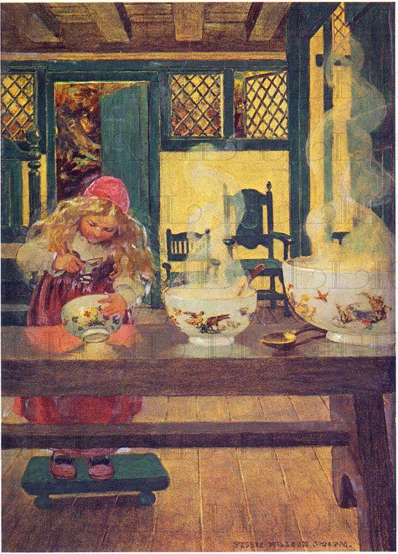 Goldilocks Perusing the Three Bowls. Jessie Wilcox Smith. VINTAGE Fairy Tale DIGITAL Illustration. Digital Vintage Fairy Tale Download.