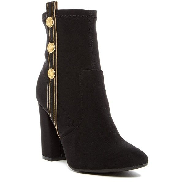 Tommy Hilfiger Drexel Ankle Boot ($70) ❤ liked on Polyvore featuring shoes, boots, ankle booties, black multi fabric, black block heel boots, black booties, black ankle booties, black boots and tommy hilfiger boots