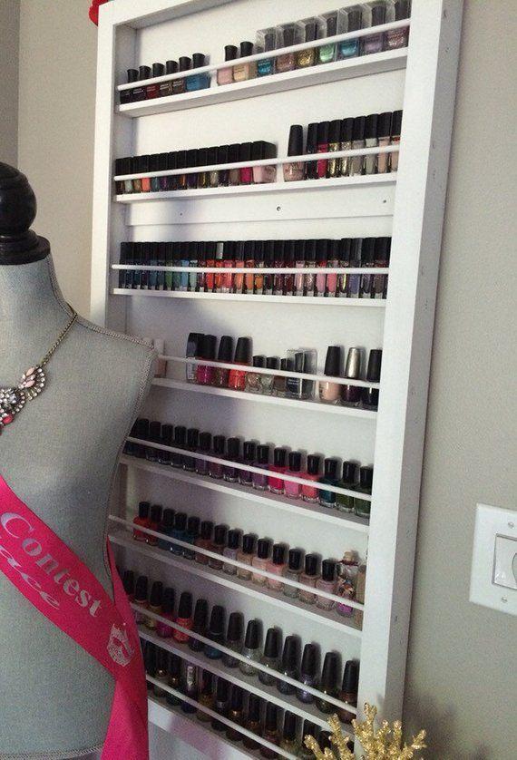 wall mounted nail polish rack salon nail polish storage salon decor rh pinterest es