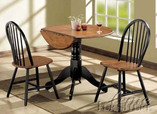 3pc Dining Table Chairs Set With Drop Leaf In Oak And Black Finish At