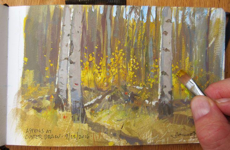 Aspen forest, casein, 5 x 8 inches.