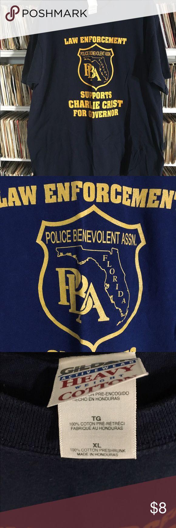 Florida PBA Charlie Crist for governor T-shirt Florida police benevolent association t-shirt. Law enforcement supporting Charlie Crist for governor. Vintage Shirts Tees - Short Sleeve