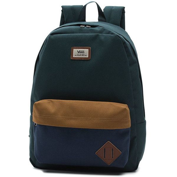 Vans Old Skool II Backpack Green Gables (£25) ❤ liked on Polyvore featuring bags, backpacks, knapsack bag, blue bag, vans bags, daypack bag and backpack bags