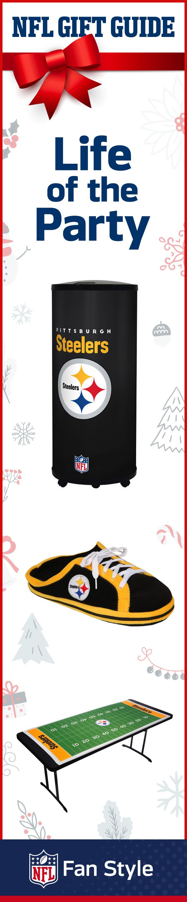 For the fan who loves to be the center of attention, this holiday package will draw all eyes. Help them make the most popular fancave with a Steeler's cooler, sneaker-slippers, and party table.